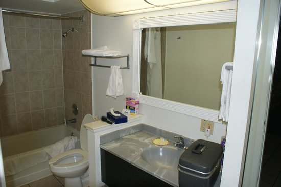 Days Inn &amp; Suites Port Richey:                   The bathroom from the doorway.