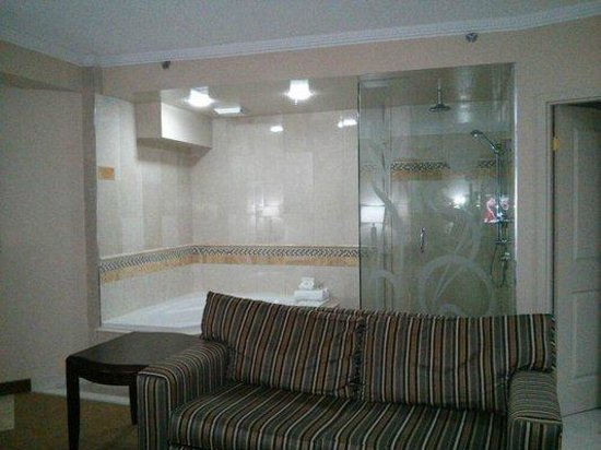 Monte Carlo Inn & Suites Downtown Markham:                   Riviere Room #3 Couch and Jacuzzi and shower stall