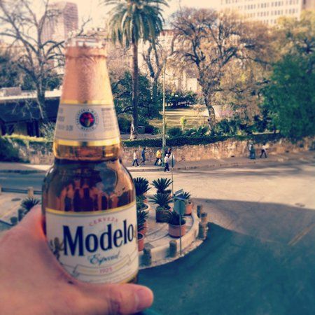Menger Hotel:                   Drinking a cold one, overlooking the Alamo