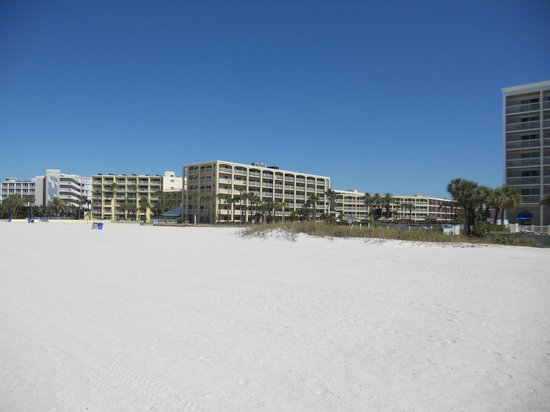 Coral Reef Resort:                   Seeing the hotel from the beach.