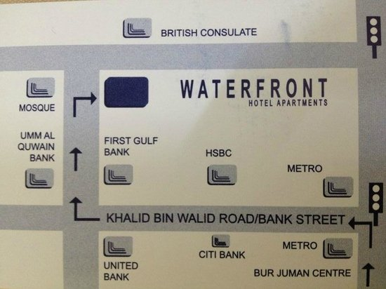 Waterfront Hotel Apartments:                                                       road map