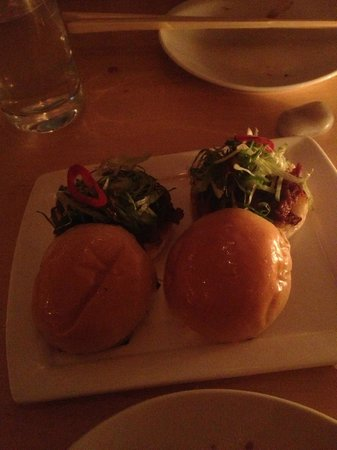 Danji:                   spicy pork belly sliders, scallions, cucumber julienne & gochujang