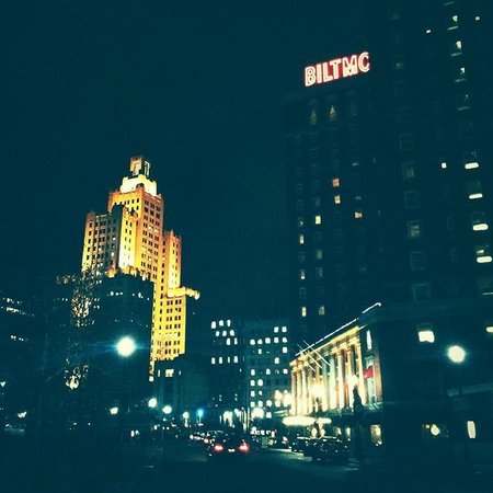 The Providence Biltmore:                   view from afar, a nighttime glowing street