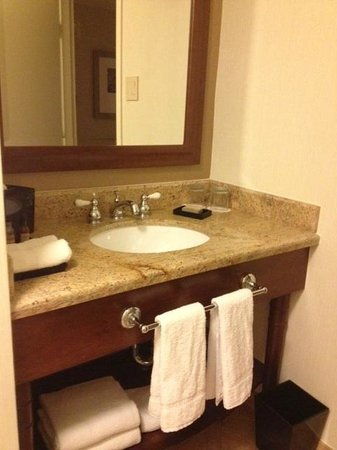 San Diego Marriott La Jolla:                   Granite countertops with upgraded faucets, lots of lighting.