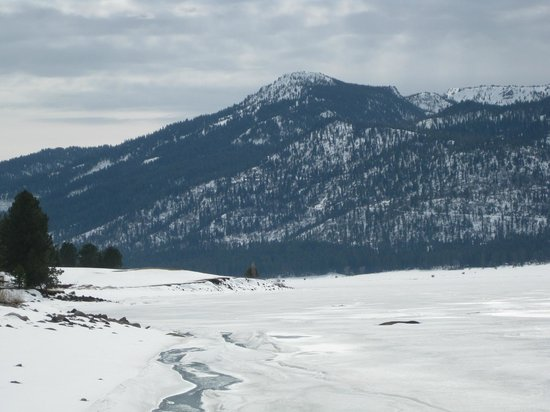 Nearby Cascade Lake, frozen over but beautiful