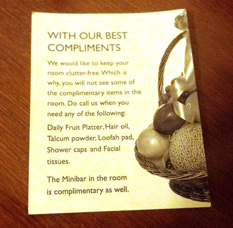 Green Park - Chennai: The all Complimentary List incl Mini Bar