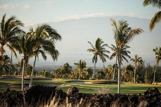 Hilton Grand Vacations Club at Waikoloa Beach Resort: Golf course behind building