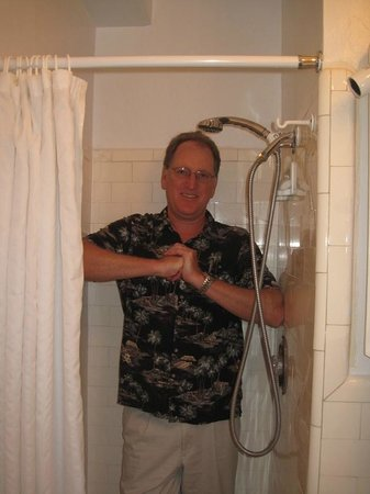 Hotel San Carlos:                   Small but functional. My elbows are against the walls of the shower. Don't dro