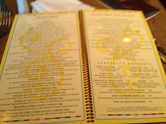 Cheesecake Factory Cheesecake Menu Prices Factory Cheesecake Menu
