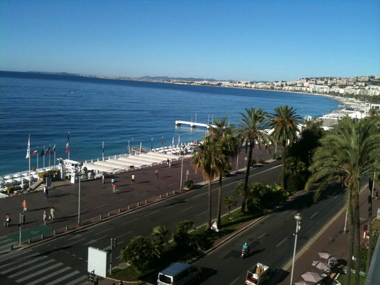 view from the room overlooking and promenade des anglais