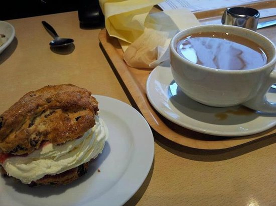 South Yorkshire, UK:                                     Homemade Cream Filled Scone & a Coffee