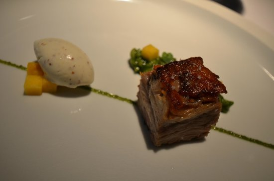organic milk-fed lamb with creamy herb rice, mustard ice cream and ...