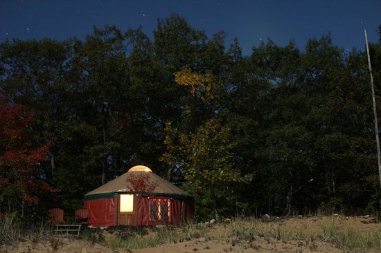 Indian River, MI: The Yurt at night with Great Lakes Eco-Adventure Center