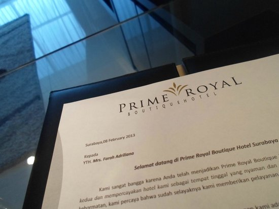 Welcome Letter Picture Of Prime Royal Hotel Surabaya