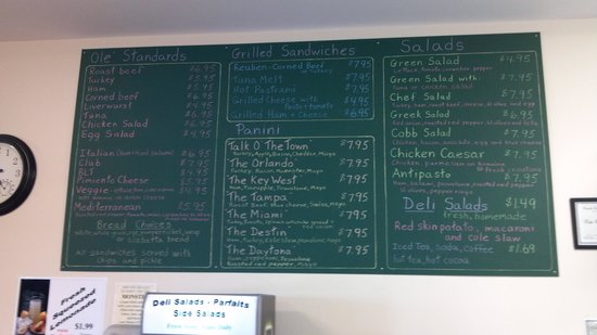 Crawfordville, Floride : Menu 