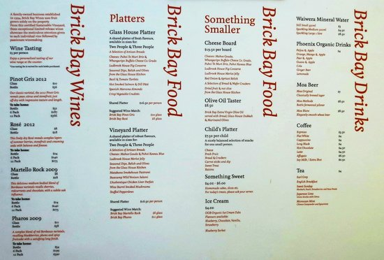 Snells Beach, New Zealand: Brick Bay cafe menu