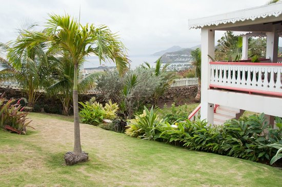 South Coast, St. Kitts: balcony from the garden
