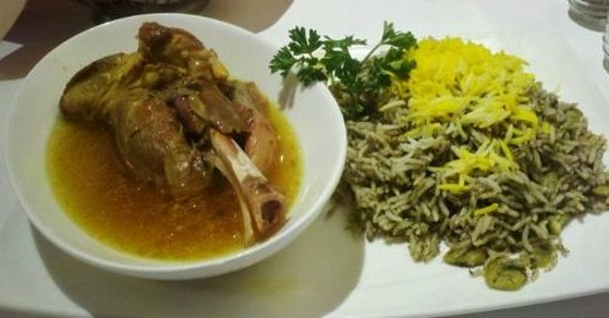 Baghali polo basmati rice with dill weed and lima beans for Arya persian cuisine