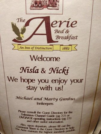 The Aerie Bed and Breakfast: The wedding