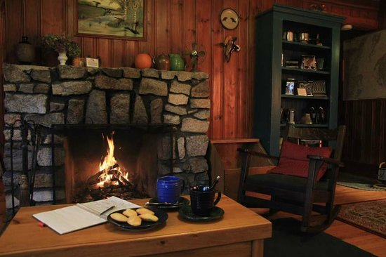 Brooksville, Мэн: Cozy living room in Lone Pine Cottage.