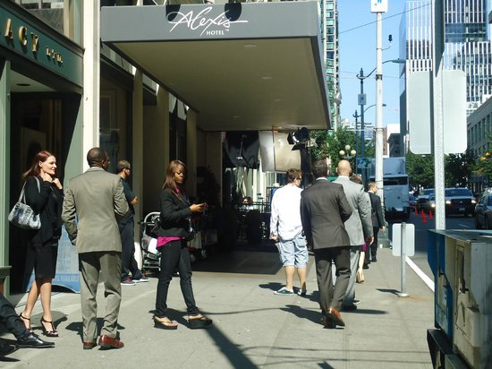 Alexis Hotel - a Kimpton Hotel: Filming outside our hotel!