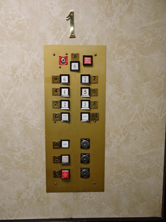Governor Hotel: The old elevator panel.  I thought it was cute.