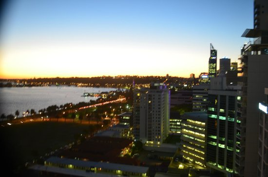 Pan Pacific Perth: View at dusk from our room