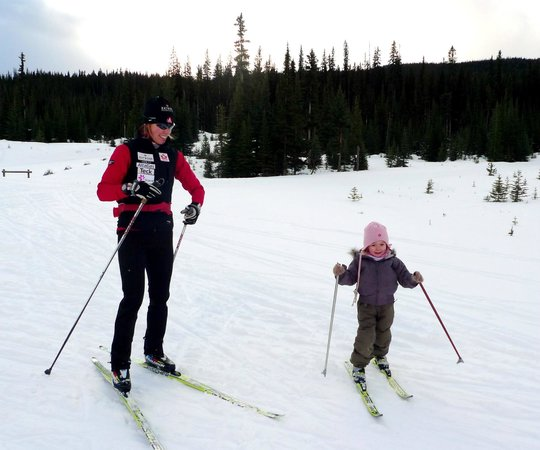 Mt. Engadine Lodge: Endless winter and summer exploring opportunities. Here's 4 x Olympian Sara Renner and her daugh