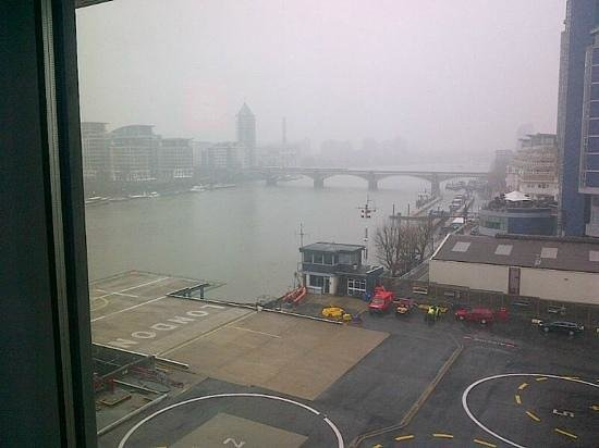 Hotel Verta by Rhombus: view from room.. to Thames and helicopters