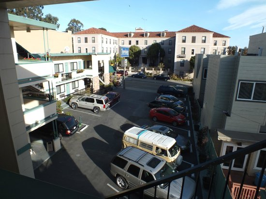 San Francisco at The Presidio Travelodge: The hotel car park from my room..