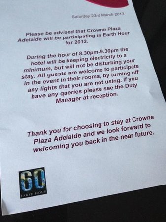 Crowne Plaza Adelaide: Earth Hour at the Hotel.