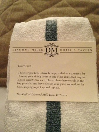 Diamond Mills Hotel: towels to cleaning your shoes