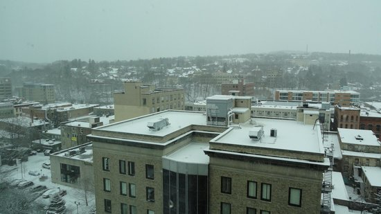 Hilton Garden Inn Ithaca: View from 9th Floor of Ithaca, it SNOWED!