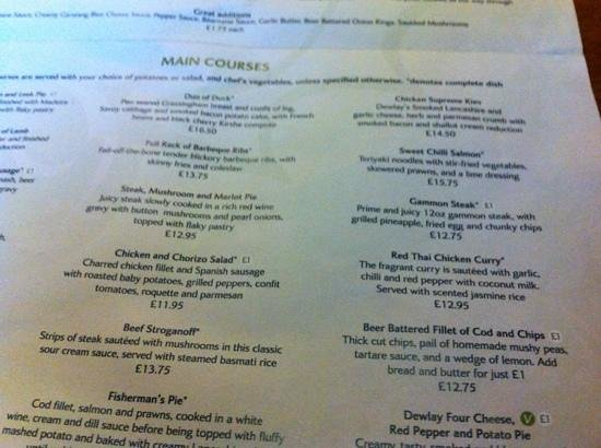 Forton, UK: sample menu...