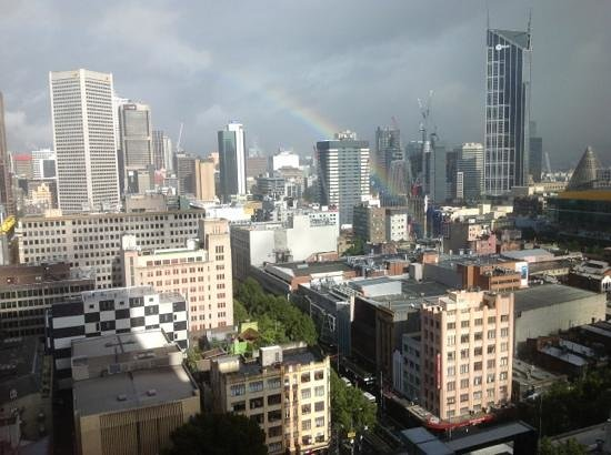 Citadines on Bourke Melbourne: looked out on a rainy day and there was a beautiful rainbow outside.