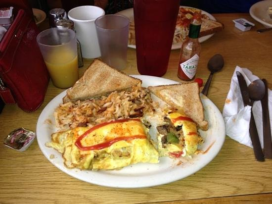 Ingram, TX: Double Barrel omelette with hash browns
