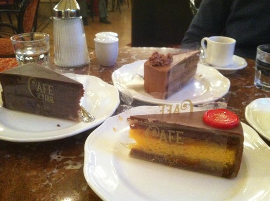 All (Sacher Torte, left, Truffle cake center) were delicious, but Cafe ...