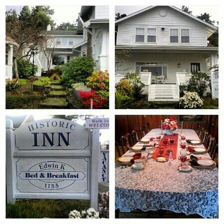 Edwin K Bed and Breakfast: outside of the house along with the breakfast set up.
