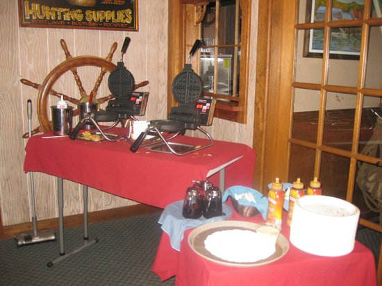 Make your own waffle at breakfast buffet , Brown's Wharf Inn, Boothbay Harbor, ME