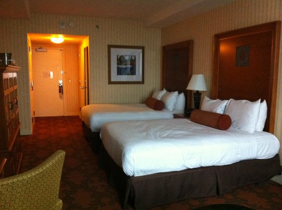 Comfy double queen beds at Hilton Austin