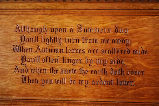 Smethport, Pensilvania: Inscription on the mantle in the dining room