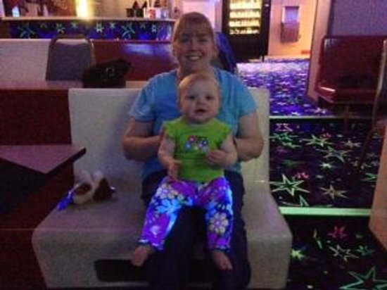 Sanford, ME: Baby and Mommy glowing during Rock and Glow Bowl!