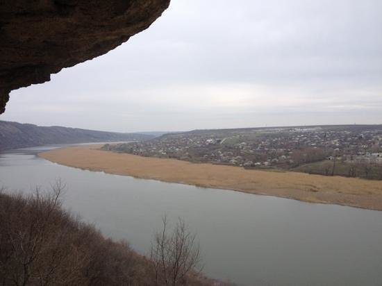 Tipova, Moldova: view of the river from the cave