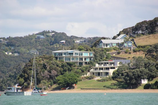 Allview Lodge (in the middle) from the sea