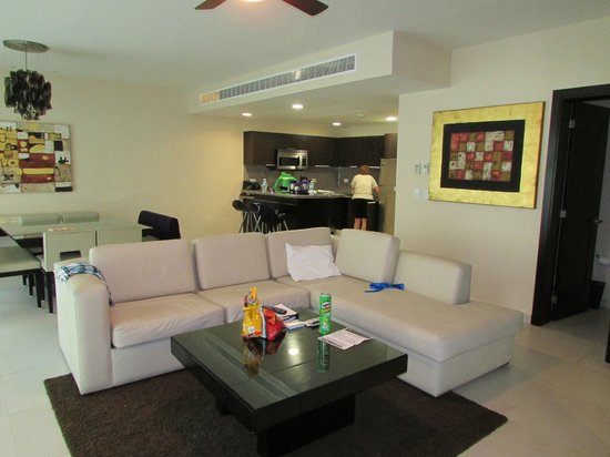 2 Bedroom Suite Livingroom And Kitchen Area Picture Of Azul Fives Hotel By Karisma Playa Del