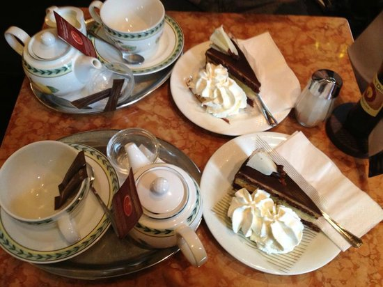 Cafe Classic: English breakfast tea and Mozart cake (Chocolate, nougat ...