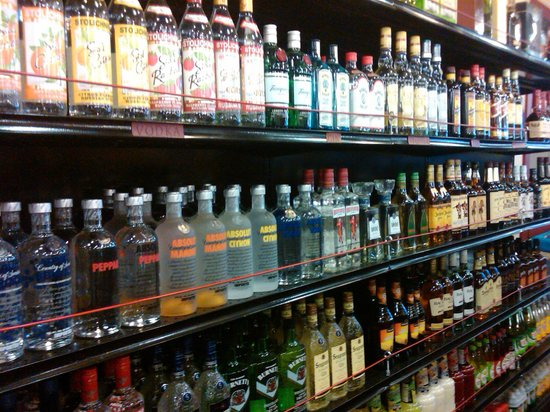 Homewood, CA: Our liquor wall...