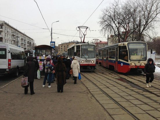 Moscow, russia: surburban tram stop