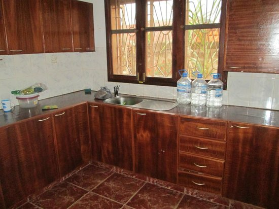 The Lodge: Kitchen in 2 bedroom apartment.  There is a little fridge that you can't see here. No cooktops.