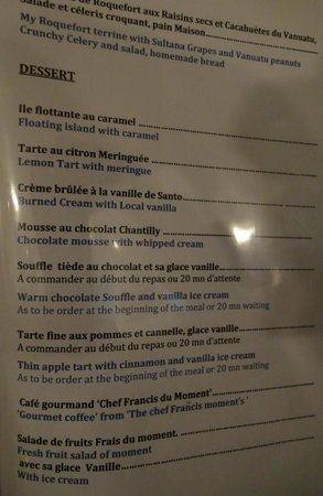 Dessert menu for my next trip picture of restaurant le for Jardin lee menu